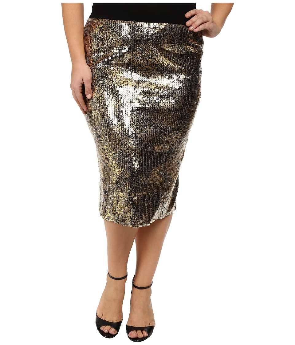 Kiyonna Baroque Sequin Pencil Skirt Gold Glitz Womens Skirt