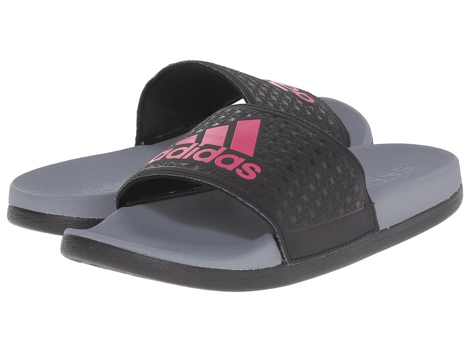 adidas Kids Adilette SC Plus Logo (Little Kid/Big Kid) (Black/Equipment Pink/Vista Grey) Girls Shoes