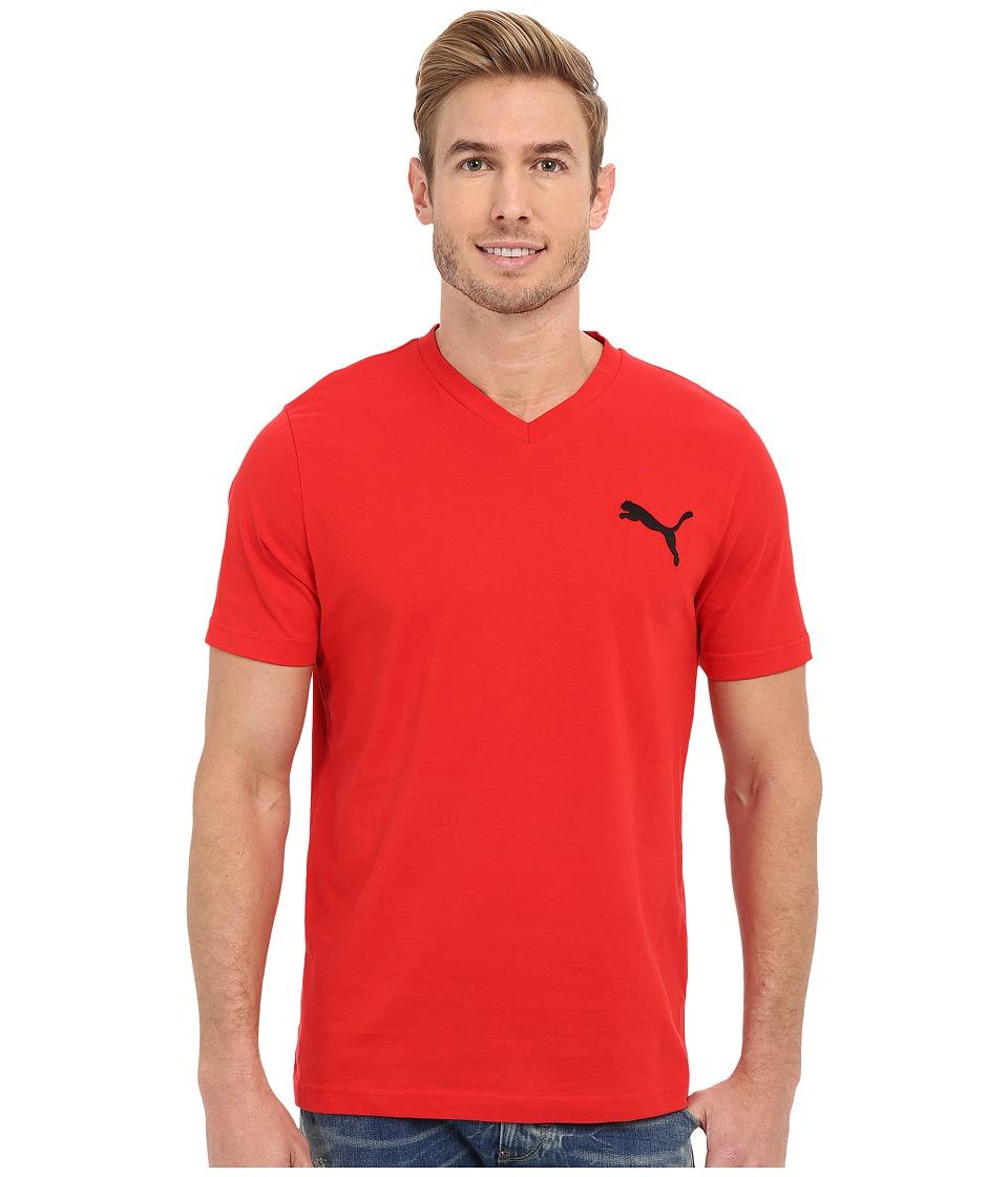 PUMA - Ideal V Tee (Puma Red/Black) Men