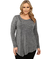 DKNY Jeans - Plus Size Shirred Asymmetric Top w/ Zipper Detail