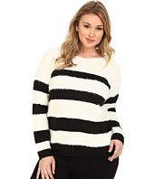 DKNY Jeans - Plus Size Stripe Eyelash Pullover