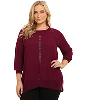 DKNY Jeans - Plus Size Studded Pullover Top w/ Rib Trim