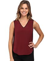 DKNYC - Tech Crepe Sleeveless Contrast Piping Blouse