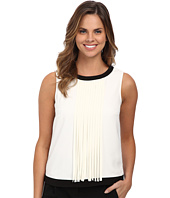 DKNYC - Tech Crepe Sleeveless Fringed Top
