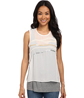 DKNYC - Lightweight Jersey Top w/ Embellished Chiffon Overlay