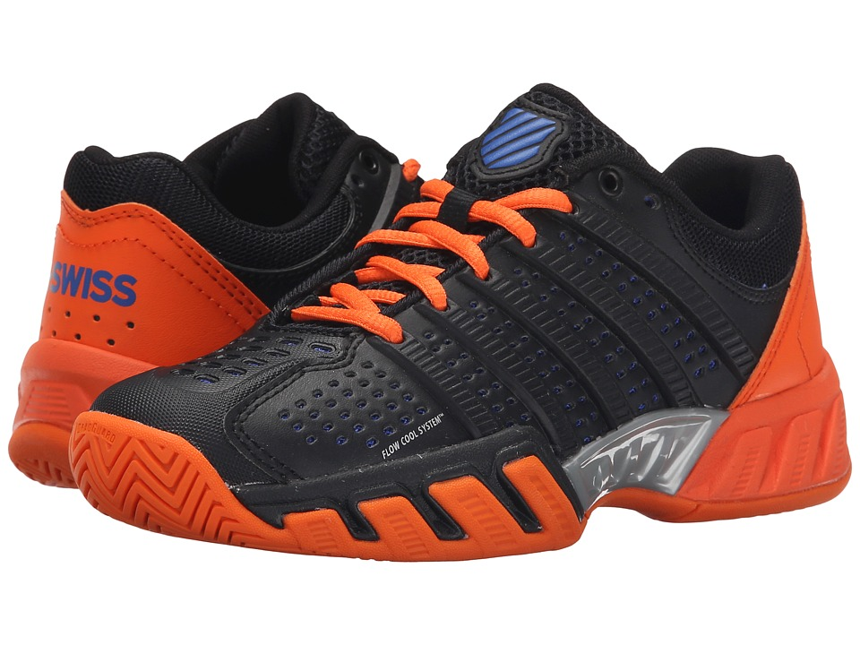 K Swiss Kids Bigshot Light 2.5 Tennis Big Kid Black/Vibrant Orange/Electric Blue Synthetic Leather Boys Shoes