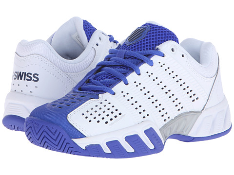 K-Swiss Kids Bigshot Light 2.5 Tennis (Big Kid) - White/Electric Blue/Dress Blues Synthetic Leather