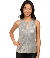 DKNYC - Shimmer Foiled Texture Jersey Keyhole Front Top