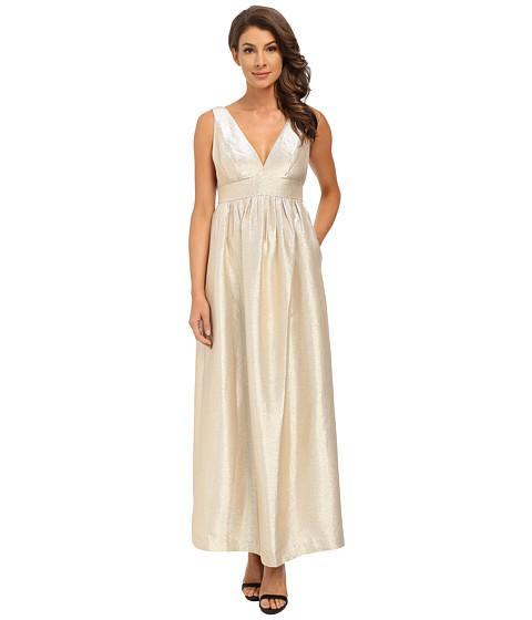 JILL JILL STUART Sleeveless Double-V Lurex Satin Gown
