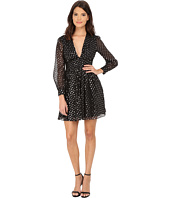 JILL JILL STUART - Short Deep-V Long Sleeve Clip Dot Dress