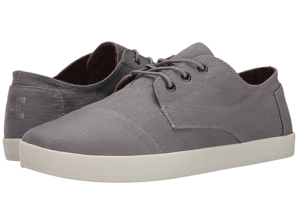TOMS Paseo Frost Grey Herringbone Mens Lace up casual Shoes