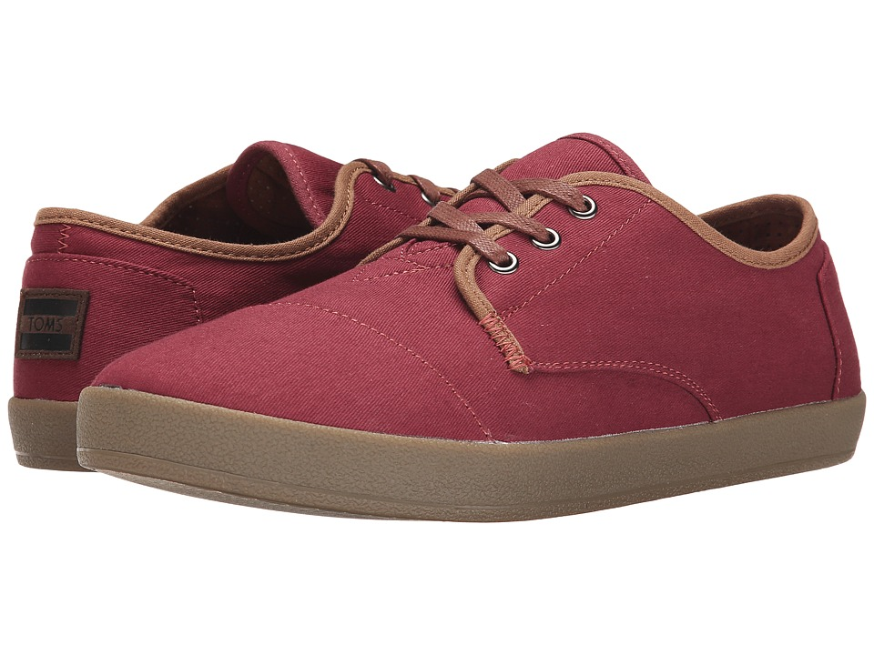 TOMS Paseo Oxblood Twill Mens Lace up casual Shoes