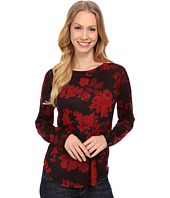 Nally & Millie - Red Floral Long Sleeve Top