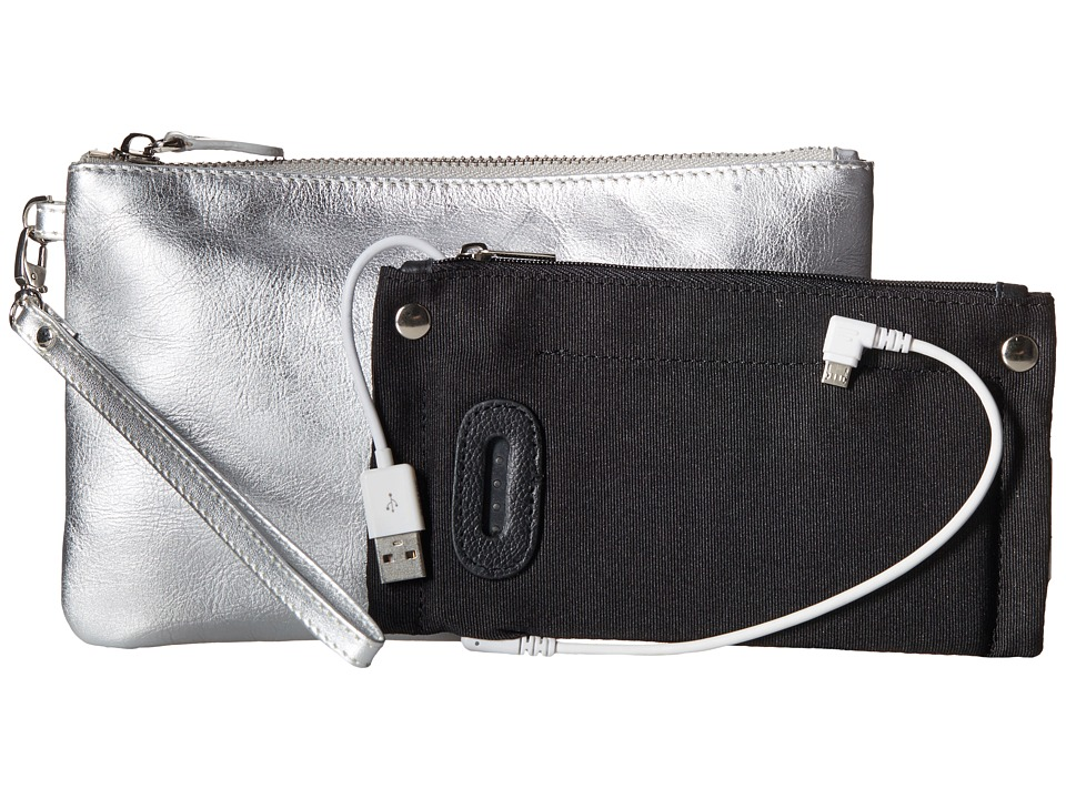 Mighty Purse Cow Leather Charging Wristlet Metallic Silver Handbags