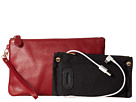 Mighty Purse Coated Cow Leather Charging Wristlet (Wine Red)