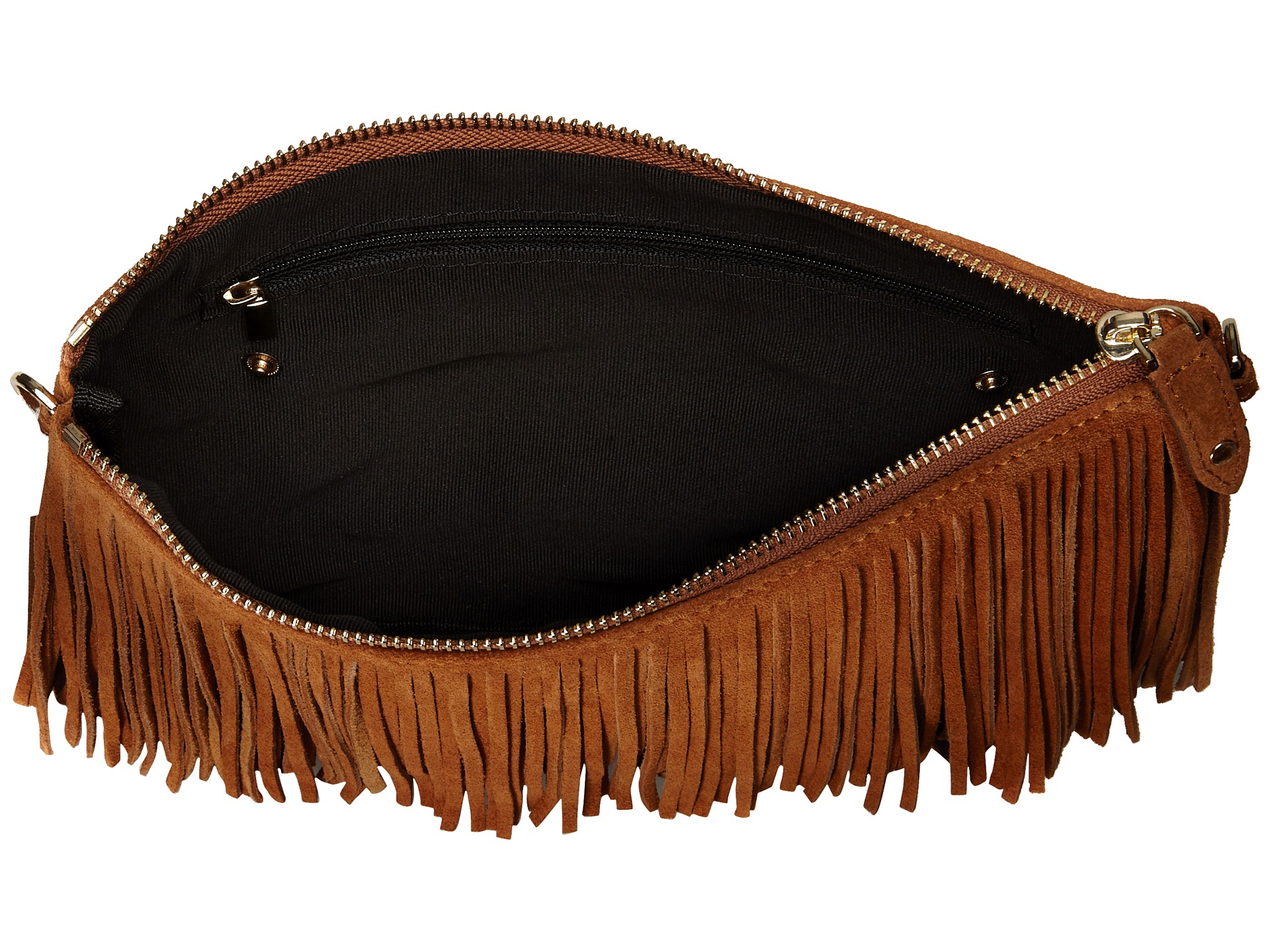 Mighty Purse Fringe X Body Bag Brown Suede Leather