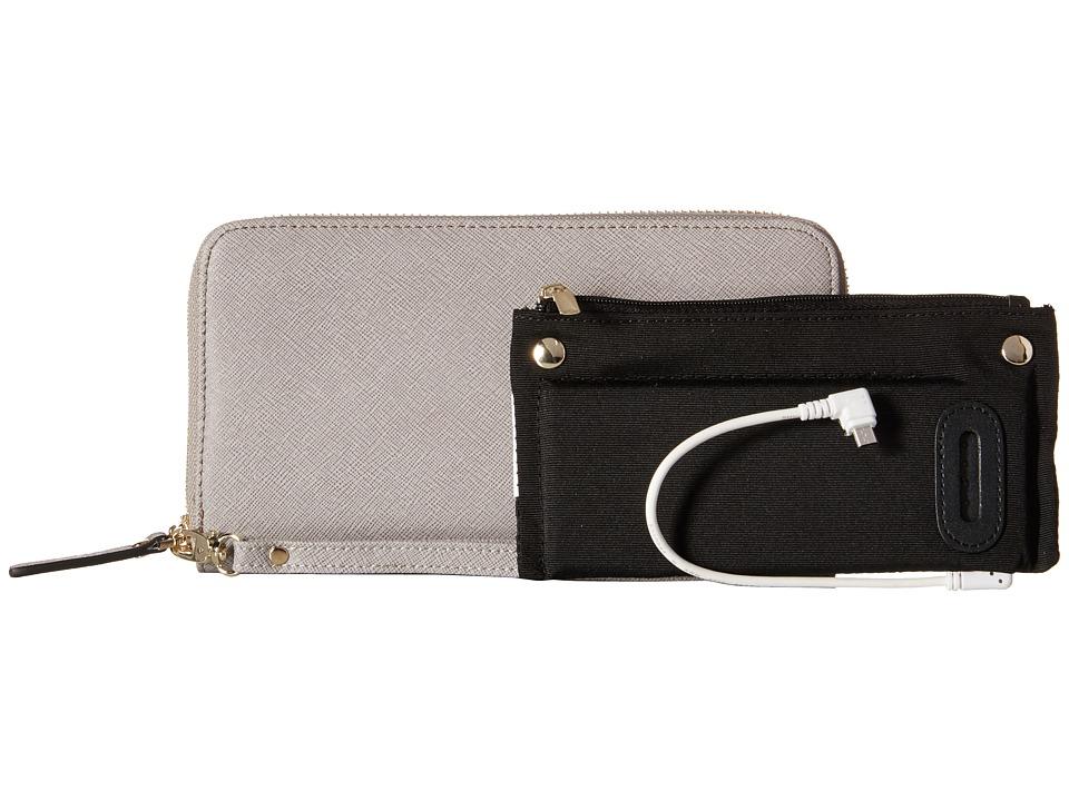 Mighty Purse Saffiano Leather Charging Wallet Grey Wallet Handbags