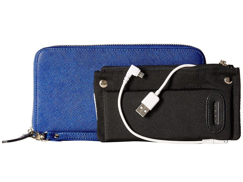 Mighty Purse Saffiano Leather Charging Wallet Electric Blue Wallet Handbags