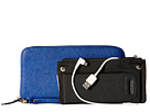 Mighty Purse Saffiano Leather Charging Wallet (Electric Blue)