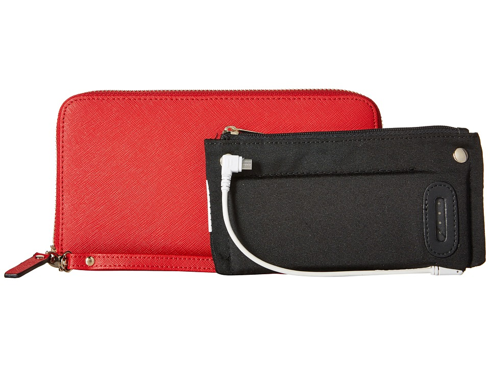 Mighty Purse Saffiano Leather Charging Wallet Red Wallet Handbags