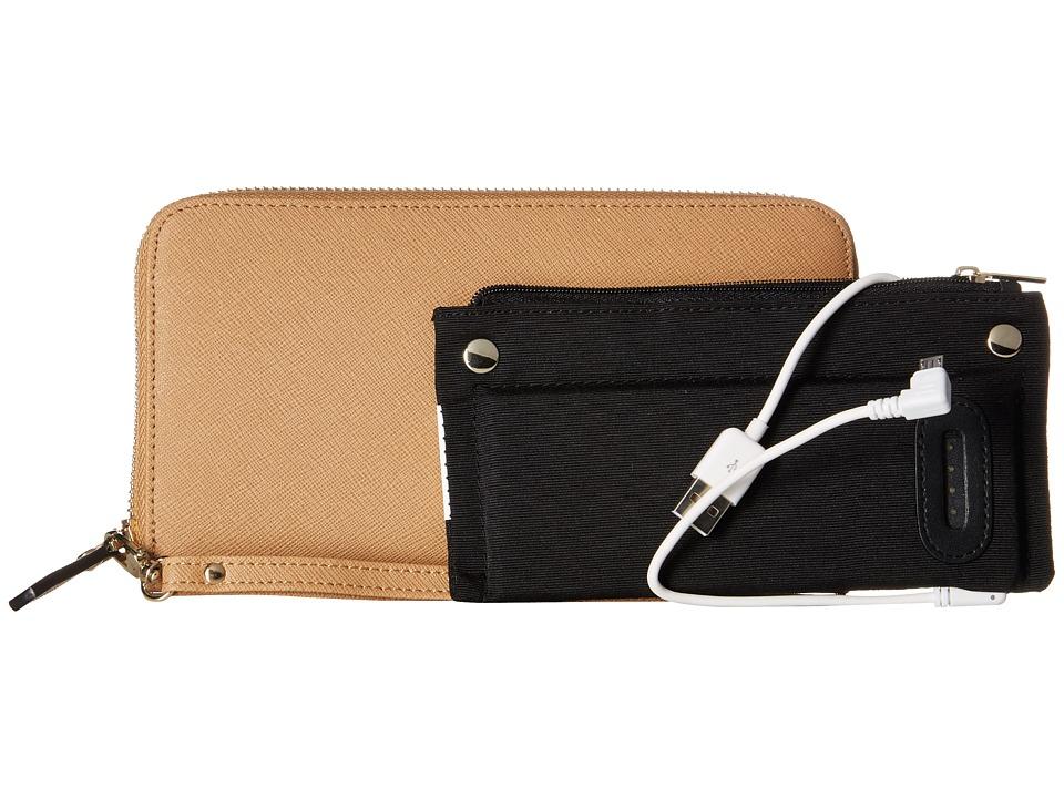 Mighty Purse Saffiano Leather Charging Wallet Tan Wallet Handbags