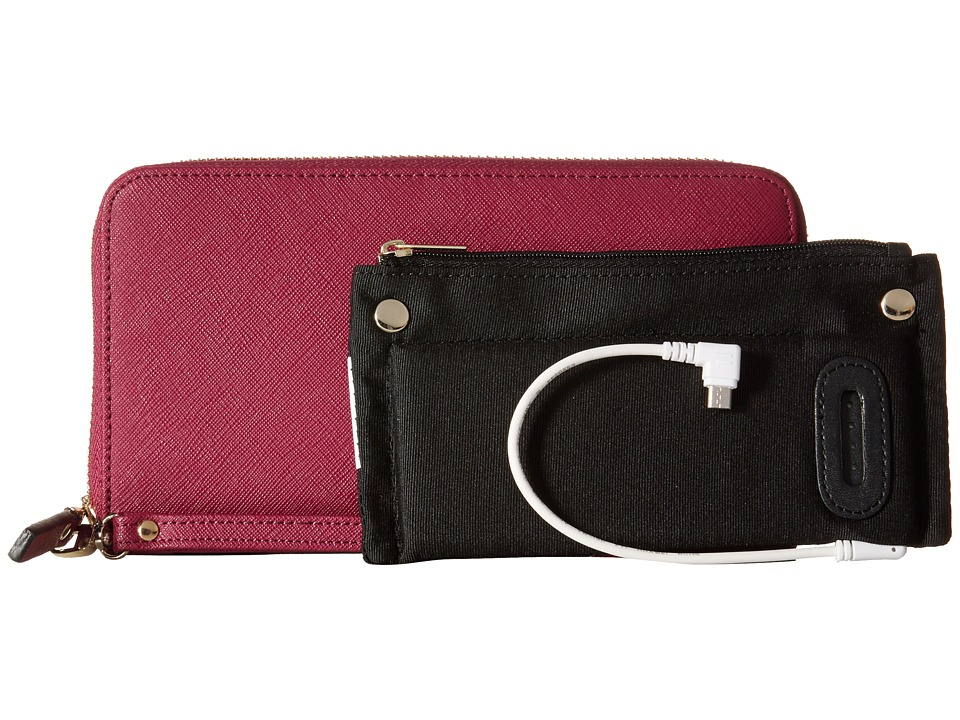 Mighty Purse Saffiano Leather Charging Wallet Berry Wallet Handbags