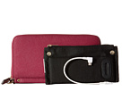 Mighty Purse Saffiano Leather Charging Wallet (Berry)