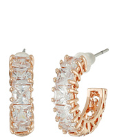 Betsey Johnson - CZ Rose Gold Hoop Earrings
