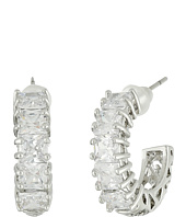 Betsey Johnson - CZ Rhodium Hoop Earrings