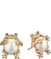 Betsey Johnson - Pearl Critters Frog Stud Earrings