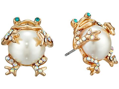 Betsey Johnson Pearl Critters Frog Stud Earrings - Pearl