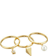 Rebecca Minkoff - Set of Three Pearl/Crystal Charms Rings