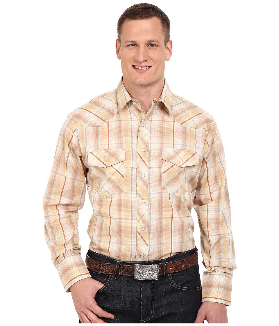 Roper Big Tall 0294 Earth Tone Plaid w/ Gold Lurex Brown Mens Long Sleeve Button Up