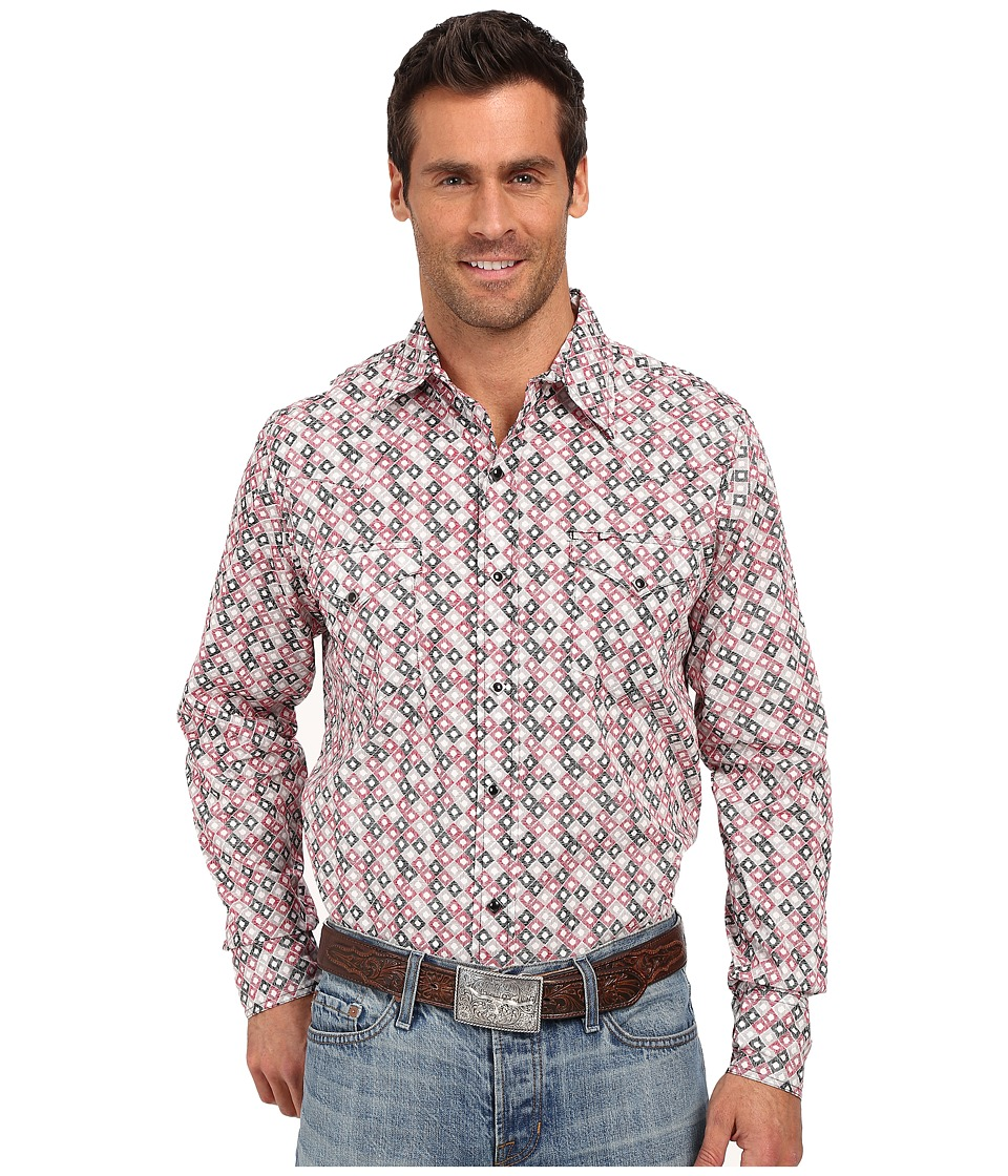 Roper 0186 Hollow Diamond Print Red Mens Long Sleeve Button Up