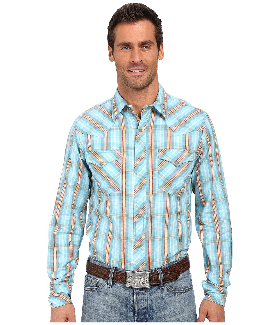 Roper 0190 Ombre Dobby Plaid Blue Mens Long Sleeve Button Up