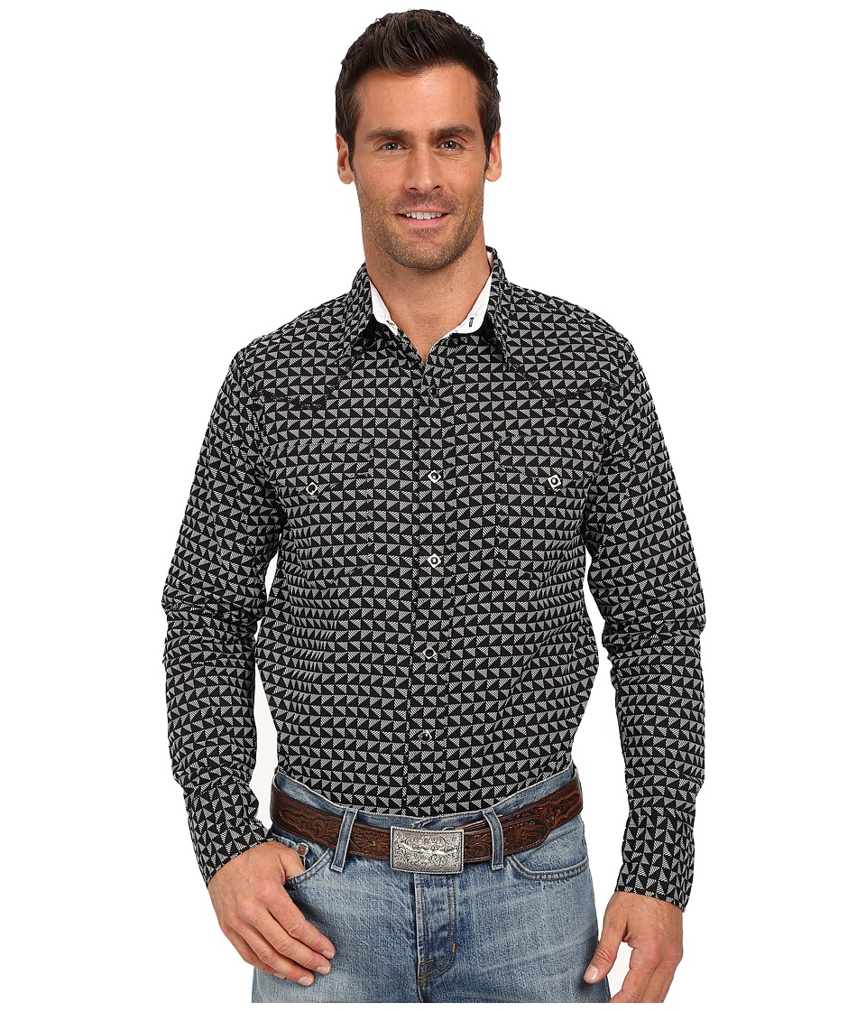 Roper 0187 Half Triangle Print Black Mens Long Sleeve Button Up