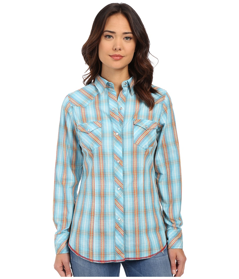 Roper 0190 Ombre Dobby Plaid Blue Womens Long Sleeve Button Up