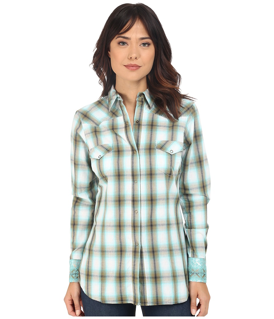 Roper 0192 Baseball Ombre Plaid Green Womens Long Sleeve Button Up