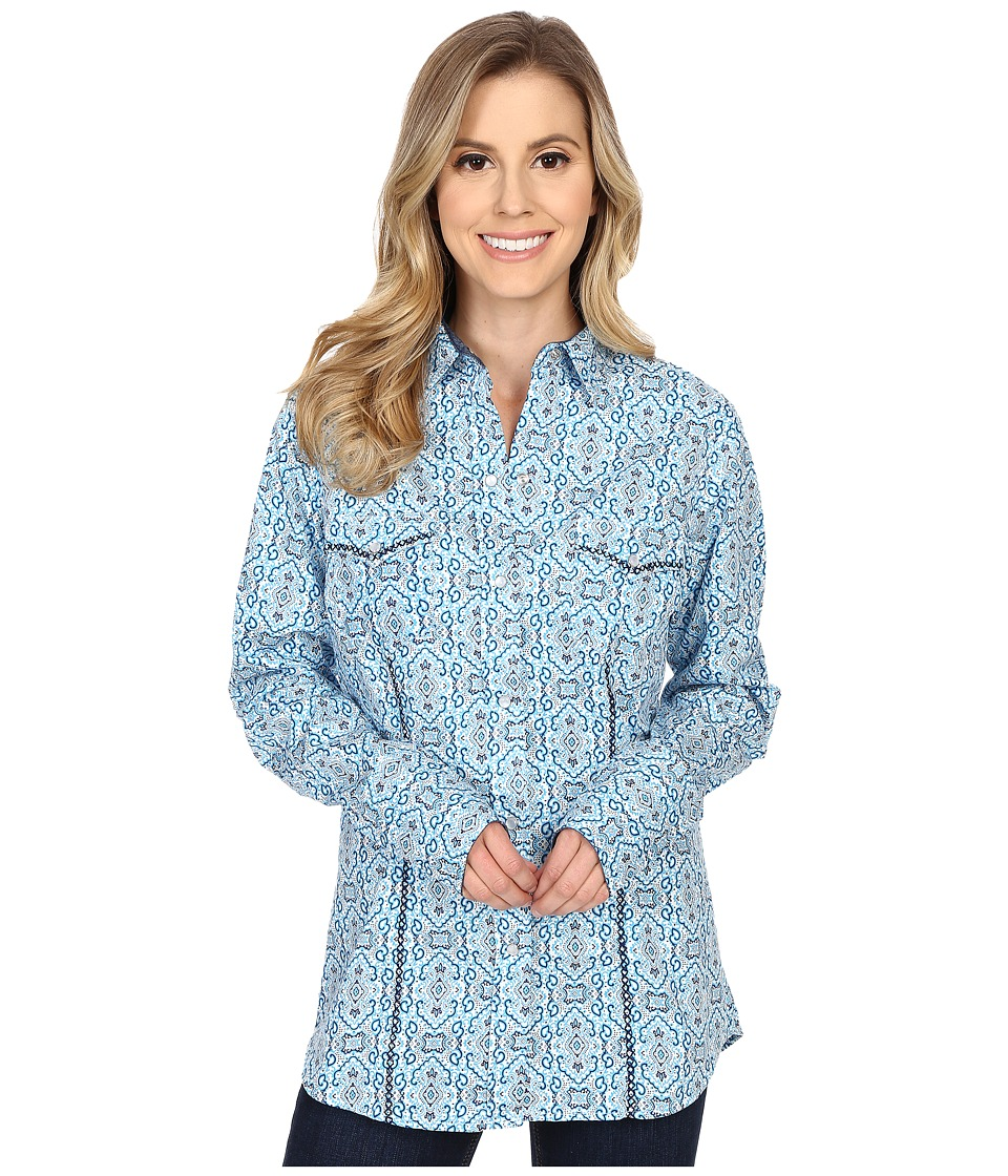 Roper 0188 Stamper Print Blue Womens Clothing
