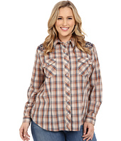 Roper - Plus Size 300 Navy Brown Plaid with Embroidery