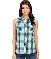 Roper - Sleeveless 0324 Turquoise & Chocolate Plaid