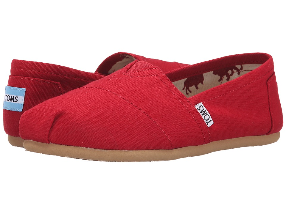 TOMS Classics (Red Canvas) Slip-On Shoes