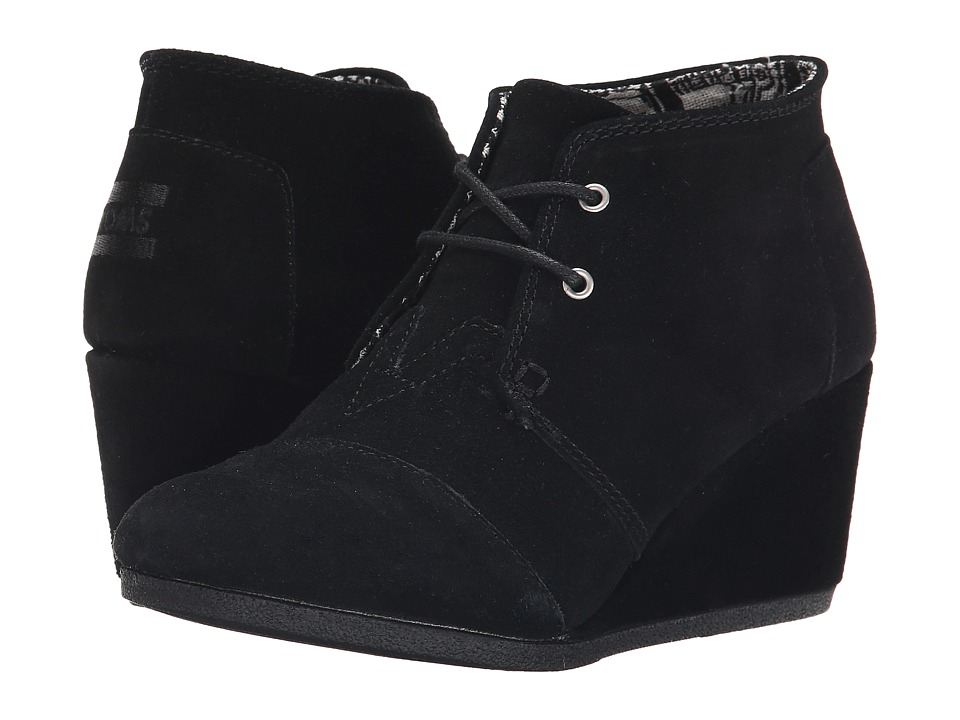 TOMS Desert Wedge Black Suede Womens Wedge Shoes