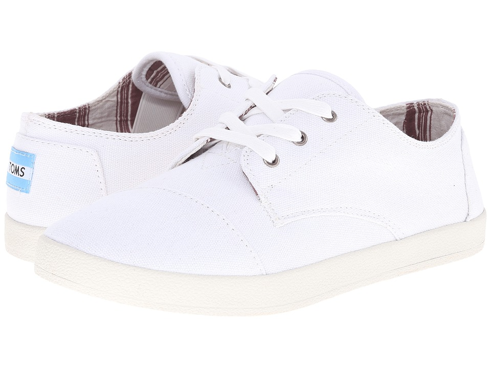 TOMS Paseo White Canvas Womens Lace up casual Shoes