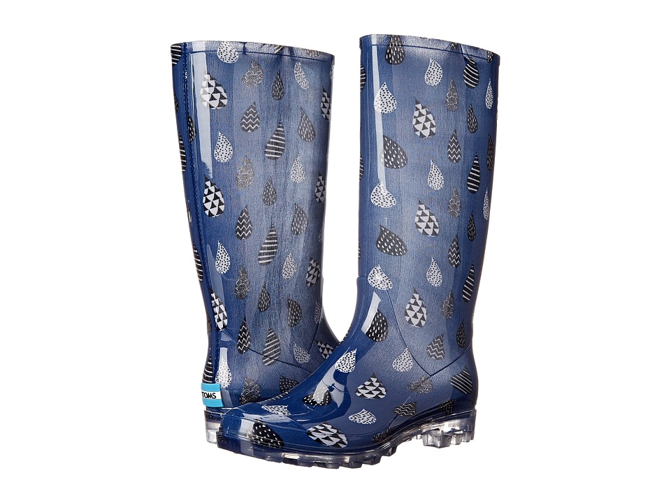 TOMS Cabrilla Rain Boot (Moonlight Blue Raindrop Print) Women