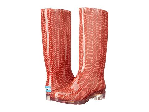 TOMS Cabrilla Rain Boot - Picante Red Herringbone Print