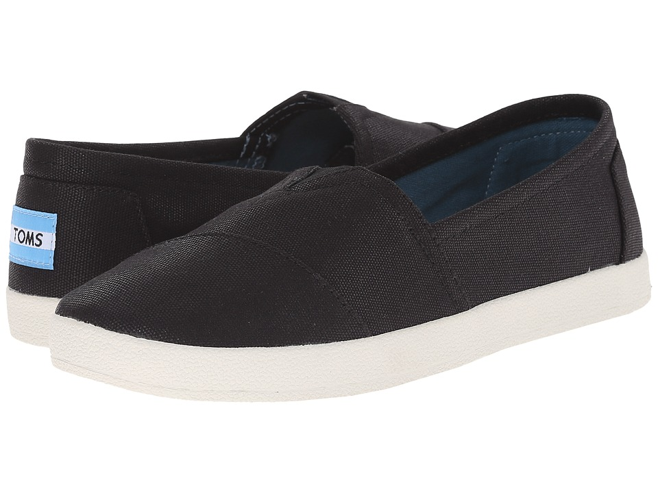 TOMS Avalon Sneaker (Black Coated Canvas) Slip-On Shoes