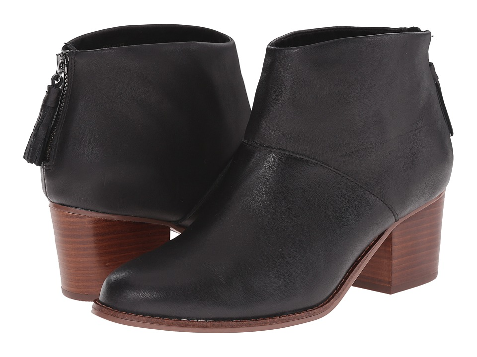 Toms Leila Bootie (Black Full Grain Leather) Women's Zip ...