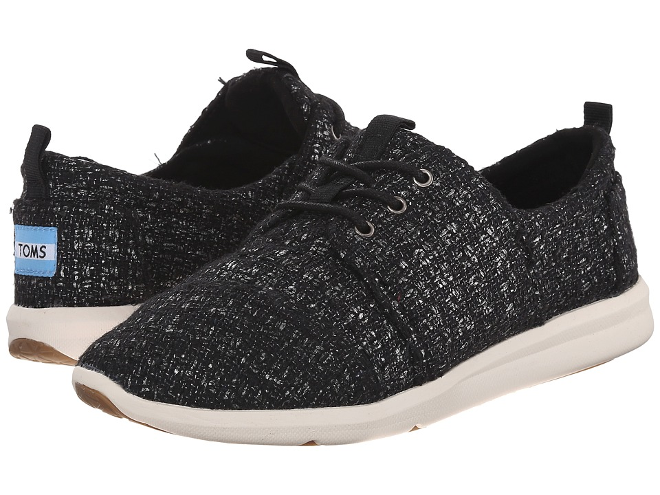 TOMS Del Rey Sneaker Black Glitter Wool Womens Lace up casual Shoes