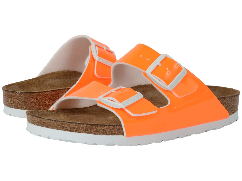 Birkenstock Arizona Neon Orange Patent Birko Flor Womens Dress Sandals